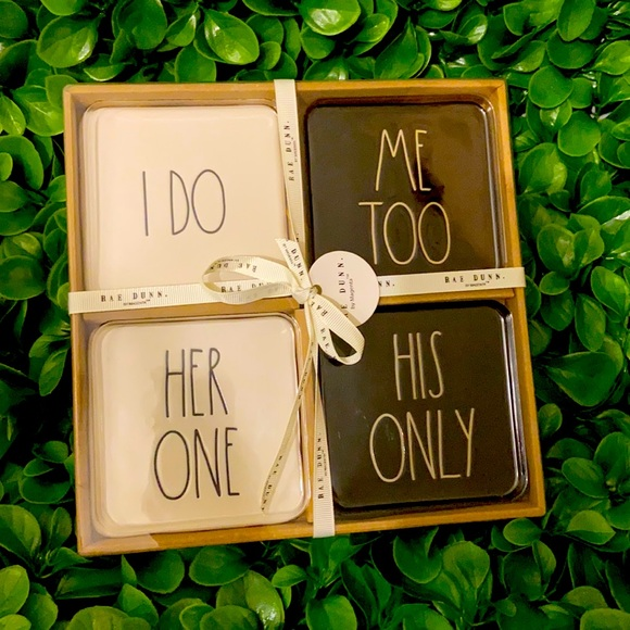 New Set of 4 Rae Dunn I DO ME TOO HER ONE HIS ONLY black & white coasters
